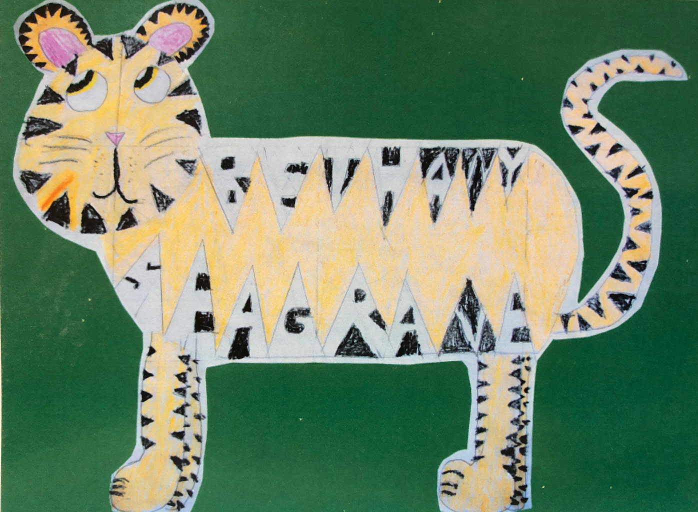 Tiger drawing. Workspace inspiration from Jenny's daughter, Bethany (who signed this piece inside the tiger stripes).