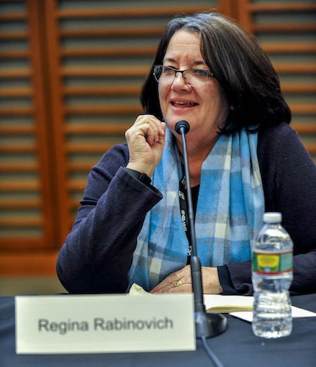 Dr. Regina Rabinovich speaks at the Harvard University Global Health Institute in February 2016.